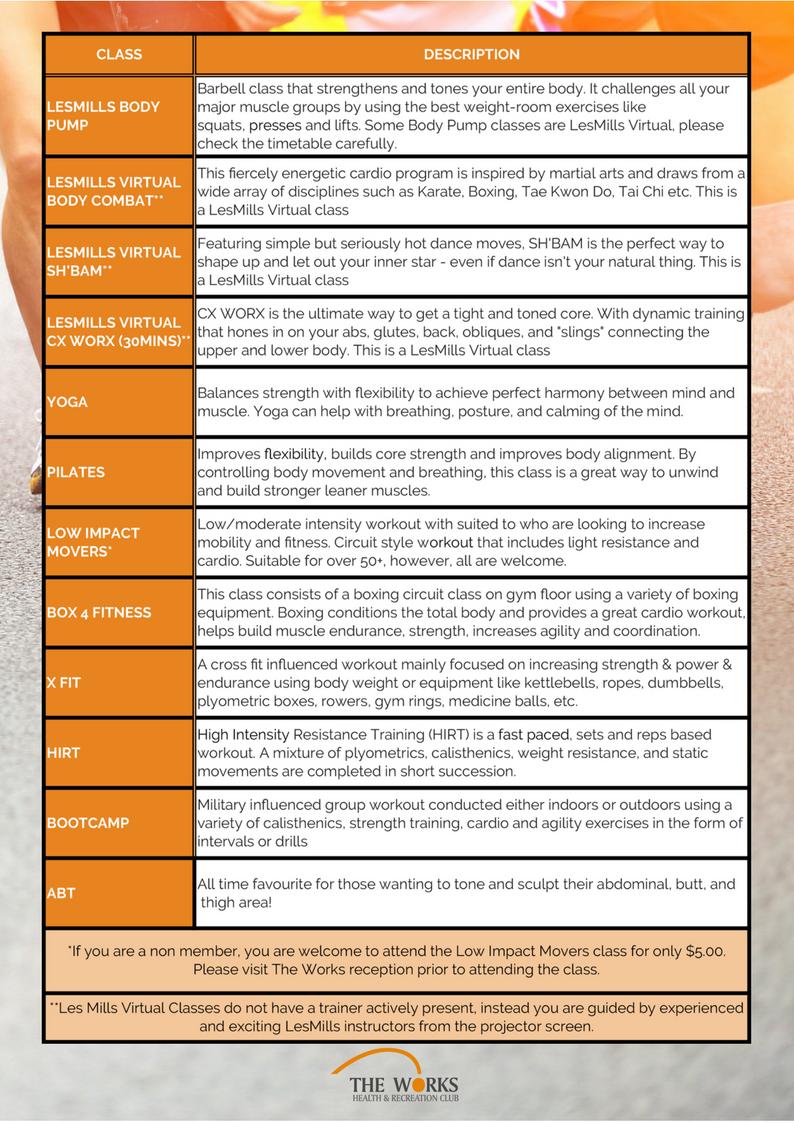 Toowoomba Group Exercise Timetable Effective 16 January 2017